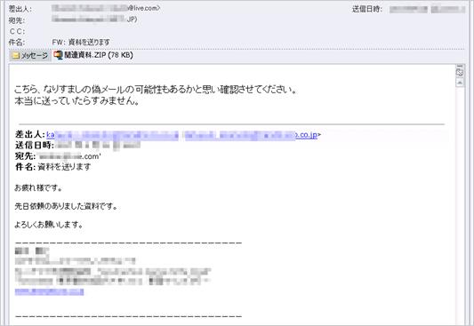 図2:「なりすましメール確認」偽装の例(サンプルの内容から一般化し再構成)