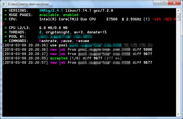 コマンドライン発掘ツール「XMRig」を修正した検体