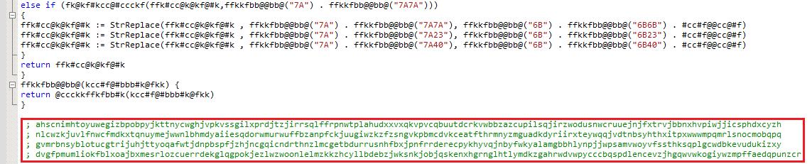 RETADUP が検出回避のために追加した文字列