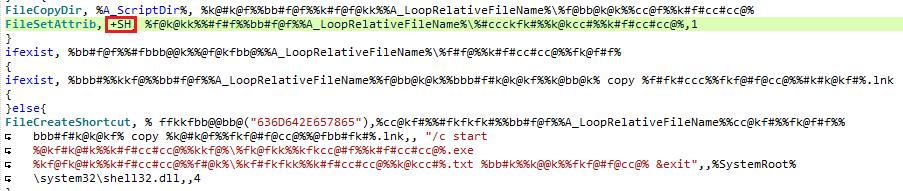 ファイルをコピーして LNK ファイルを作成する RETADUP のコード