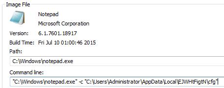"""notepad.exe"" のプロセスに注入された仮想通貨発掘コンポーネント(発掘パラメータとともに起動)"