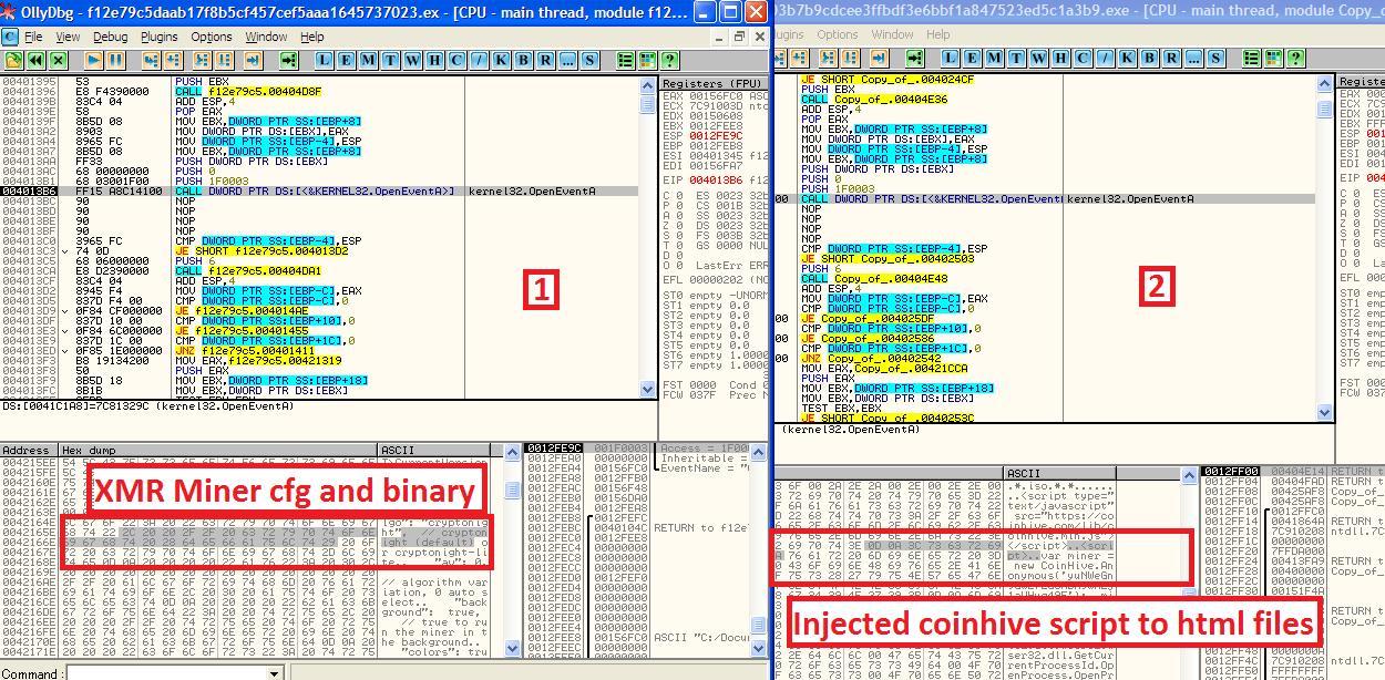 図 1:「Monero(XMR)」の環境設定およびマイニングのコード(左)、および「Coinhive」の感染を示すコード(右)
