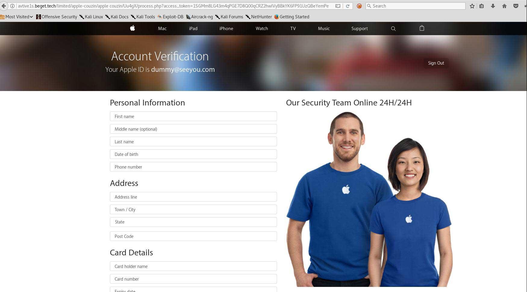 個人情報とクレジットカード情報を要求する Web ページ