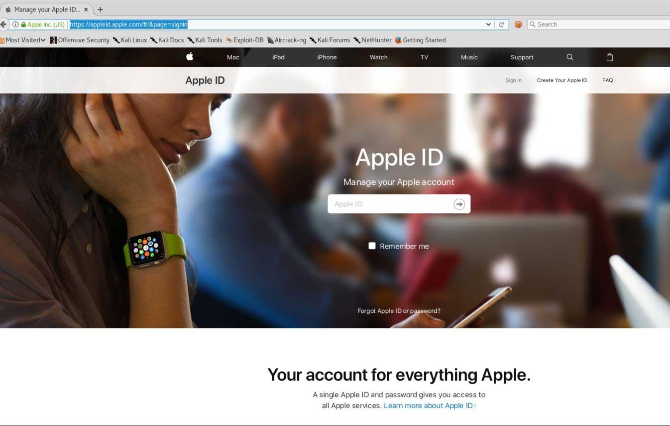 Apple の正規ログインページにリダイレクト