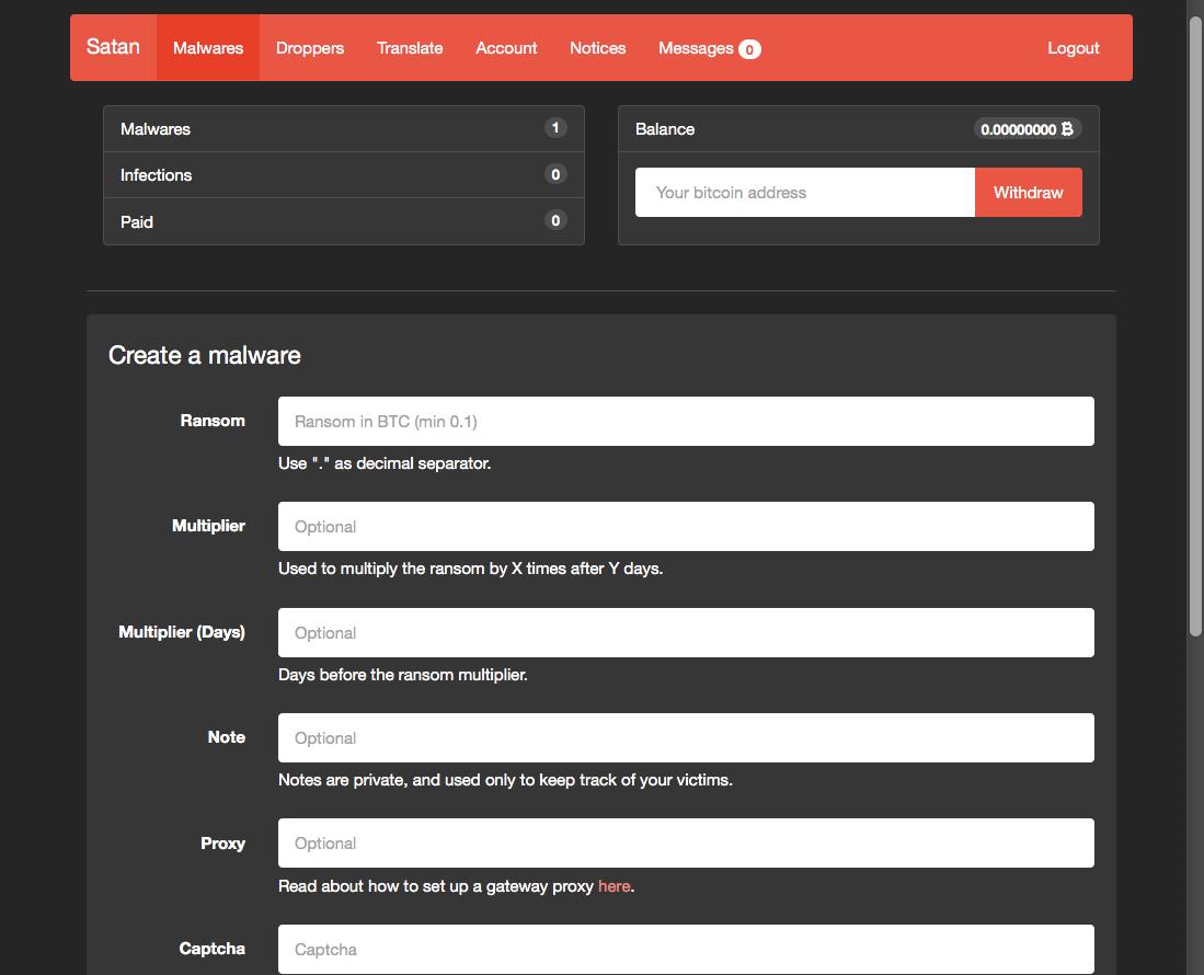 RaaS「SATAN」サイト上のランサムウェア作成画面例