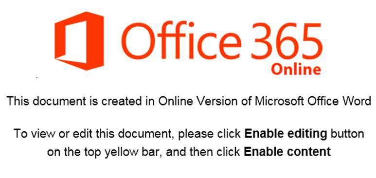 「enable editing(編集を有効にする)」ボタンをクリックするように促す不正な文書ファイル