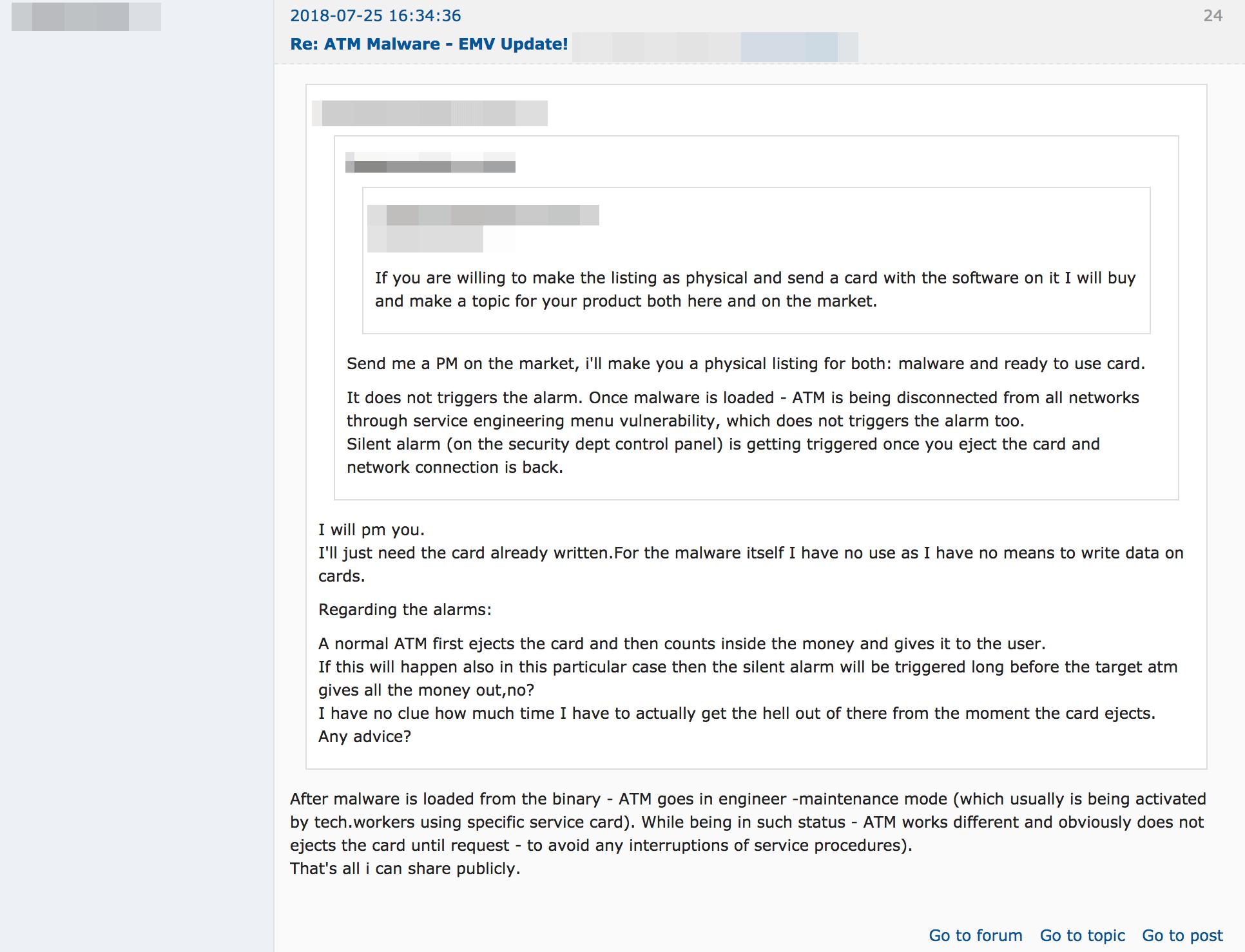 通常の ATM マルウェアに関する投稿