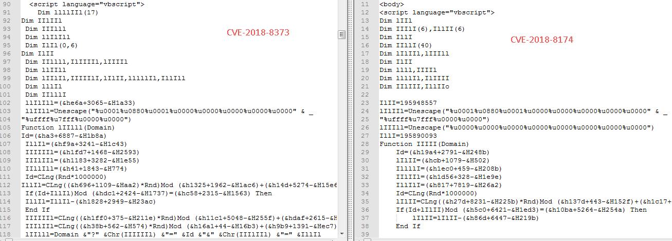 「CVE-2018-8373」および「CVE-2018-8174」を利用する VBScript