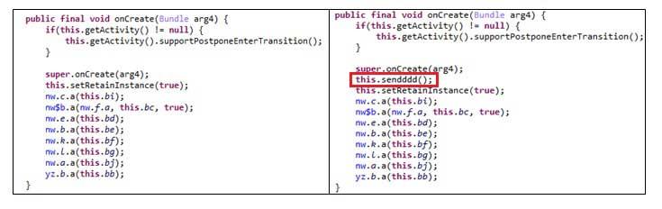 正規 Threema のコード(左)と、不正なコードが挿入された Threema のコード(右)