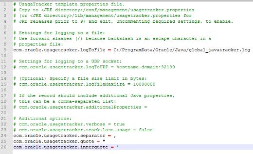 JUT のプロパティファイル usagetracker.properties の設定例