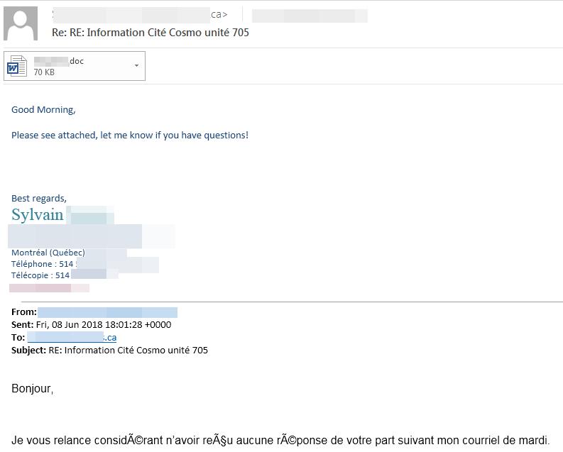 不正メールの例、既存スレッドへの返信となっている