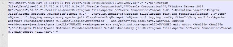 global_javatracker.logに追加された Tomcat の使用状況追跡データ
