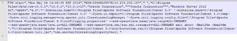 Tomcat サービス再起動後、ログファイルに追跡データが追加される