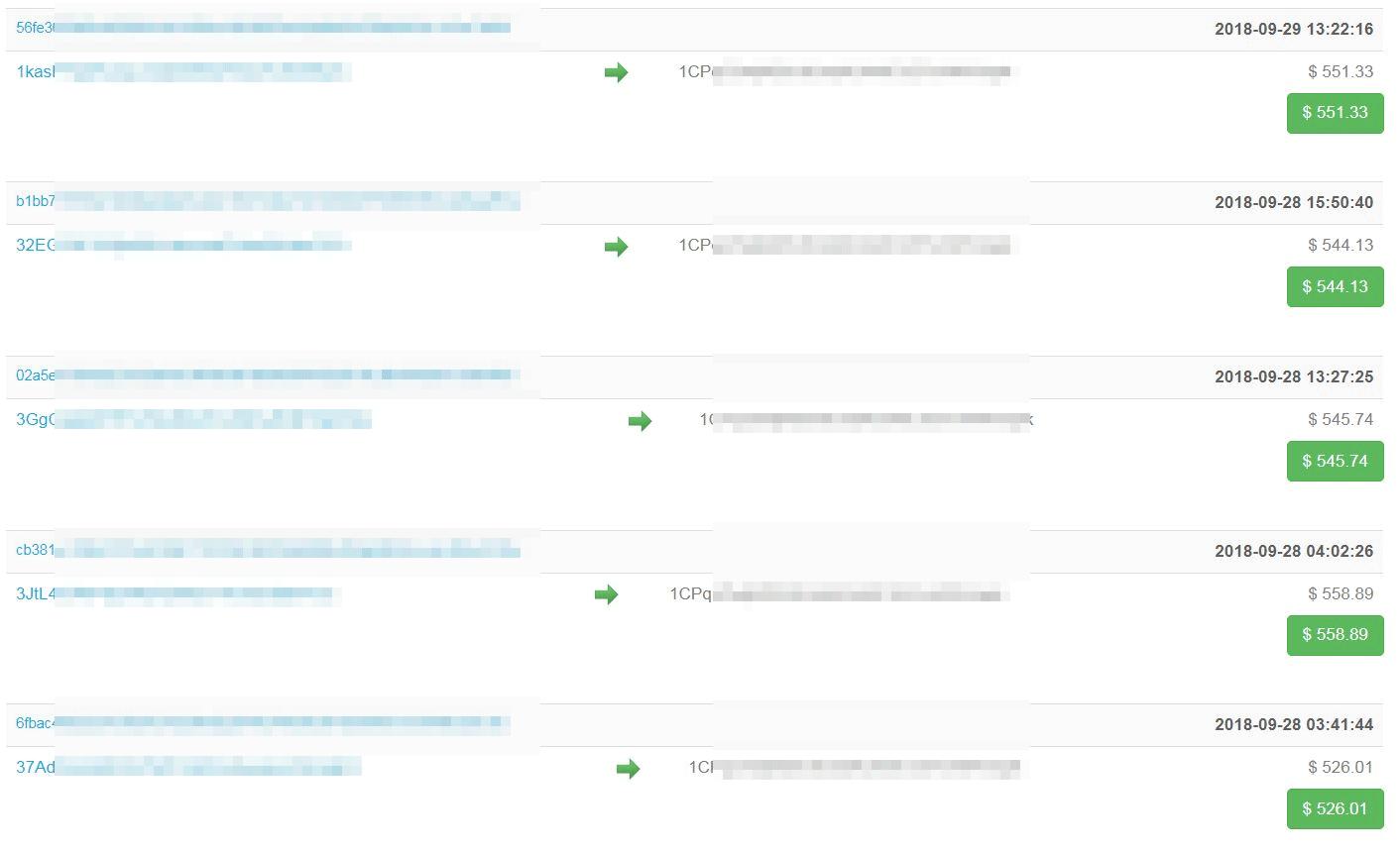 上図の詐欺メールで指定されたビットコインアドレスでのトランザクションの一部
