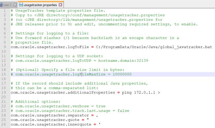 JUT のプロパティファイルで、ログファイルのパスとカスタムプロパティを設定