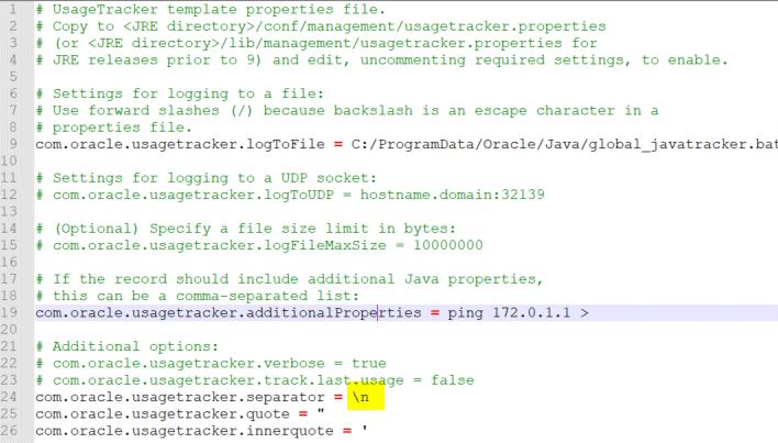 区切り文字として改行を指定した JUT のプロパティファイル