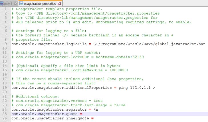 囲い文字を表す「com.oracle.usagetracker.quote」プロパティに空文字列を指定