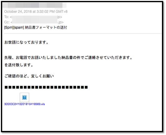不正な Excel ファイルが添付されたスパムメールの例