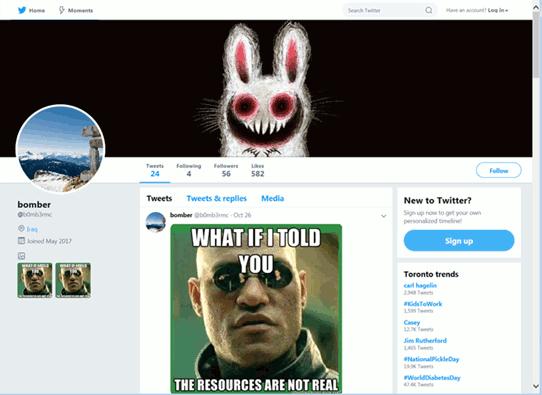 コマンドを隠ぺいしたミームが投稿されたTwitterアカウント