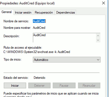 「AuditCred/ROptimizer」サービスのプロパティ