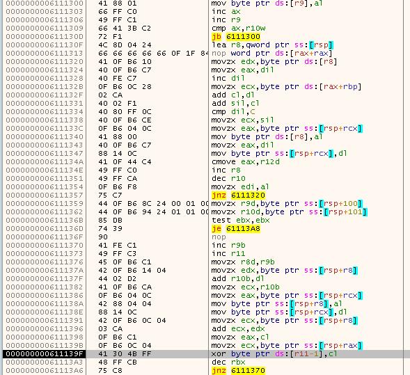 第 1 段階の計算結果を鍵とする RC4 方式の復号