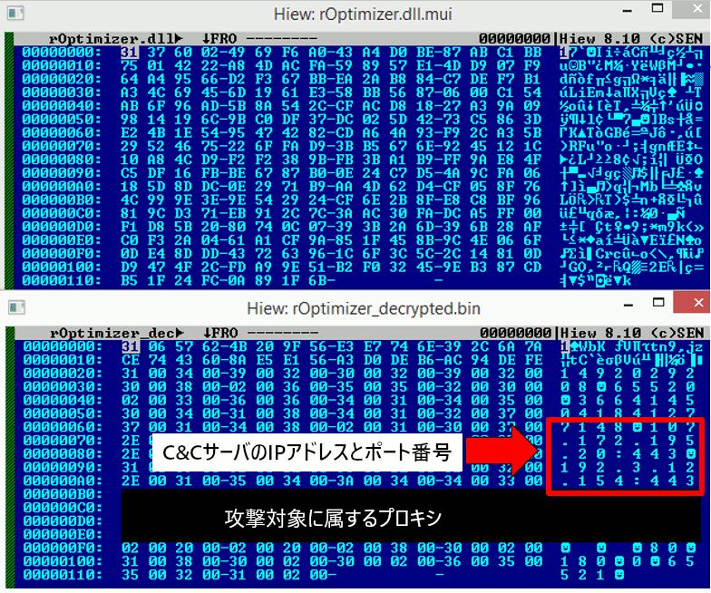 暗号化された設定ファイル(上)と復号した設定ファイル(下)