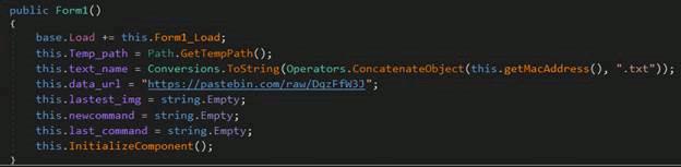 PastebinのURLが記載されたコード