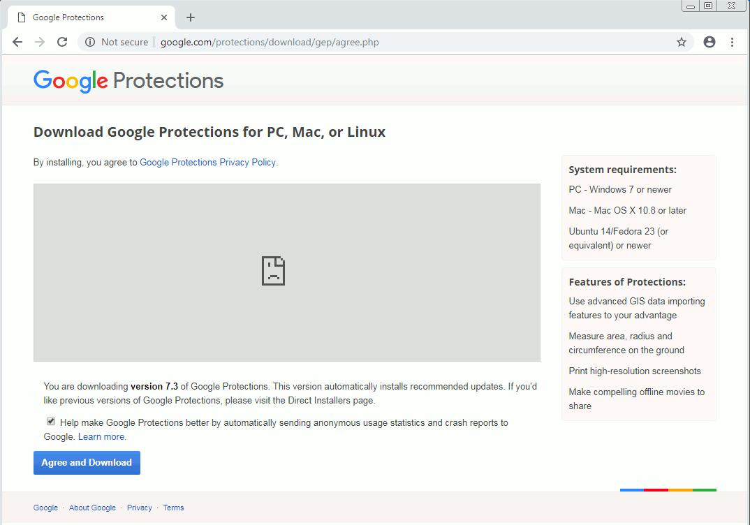 偽ソフトウェアのダウンロードページ
