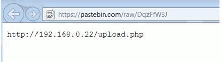 PastebinにハードコードされたローカルIPアドレス