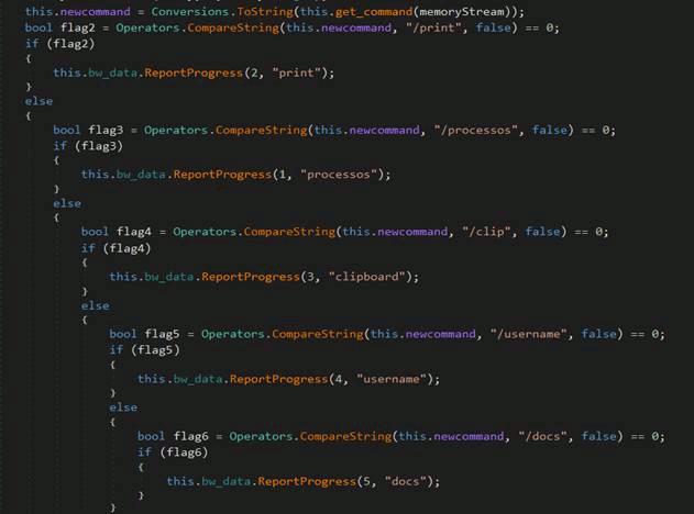 コマンドに応じて不正活動を実行するコード
