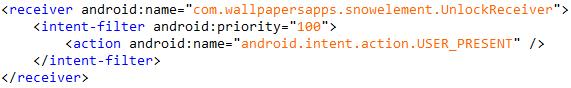 画面ロック解除を監視するために「AndroidManifest.xml」に登録されたレシーバ