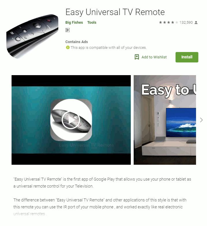 リモコンアプリに偽装した「Easy Universal TV Remote」