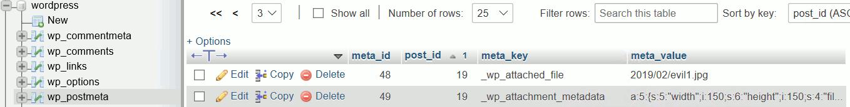 「wp_postmeta」テーブルに保存されたメタデータ
