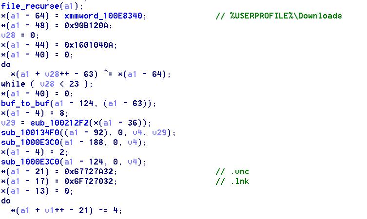 「%USERPROFILE%\Downloads」ディレクトリで「*.vnc.lnk」を検索するコード