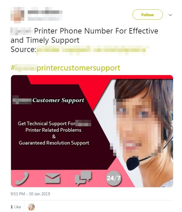 Twitterで確認されたサポート詐欺の投稿