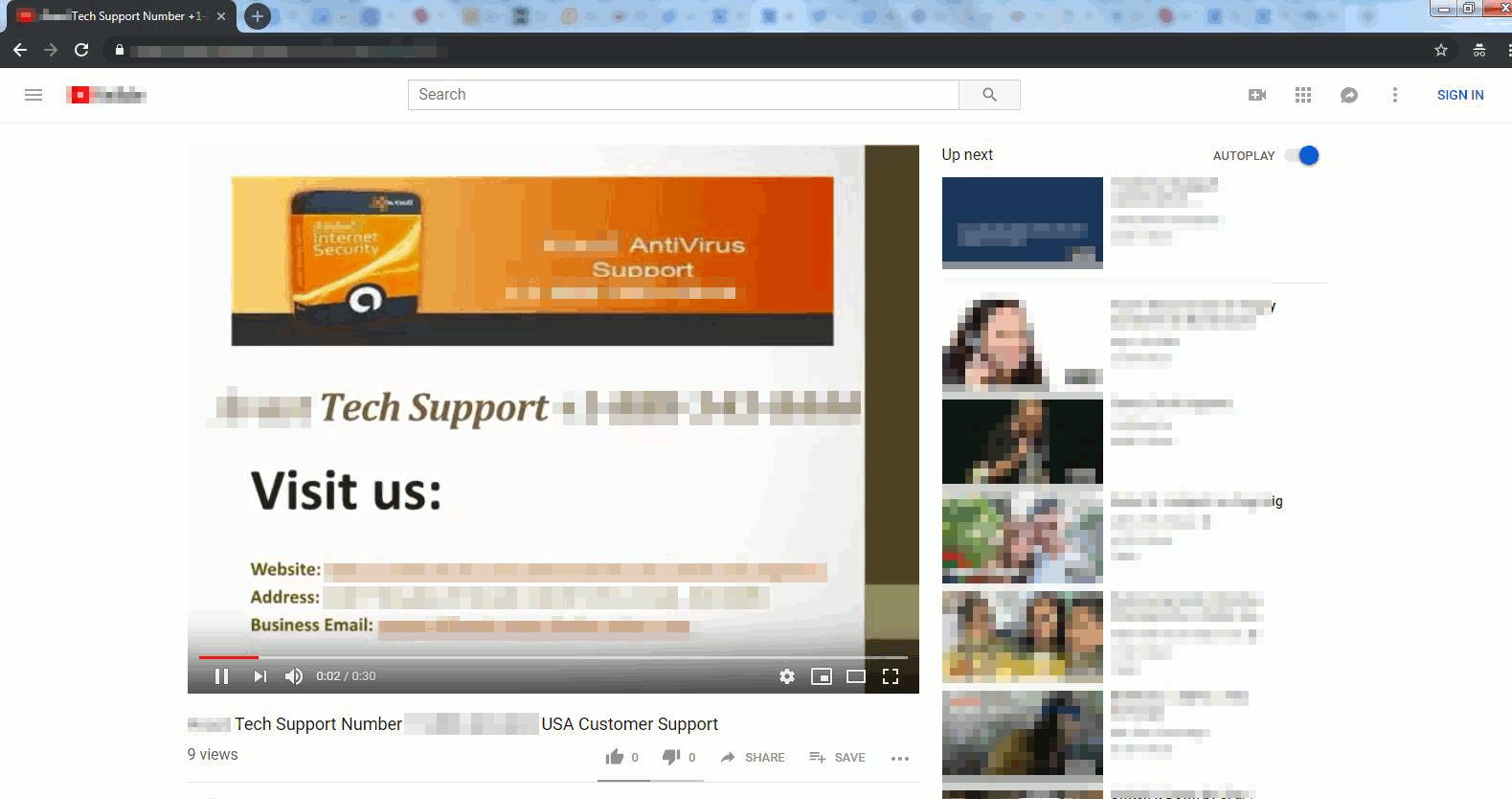 YouTubeで確認されたサポート詐欺動画