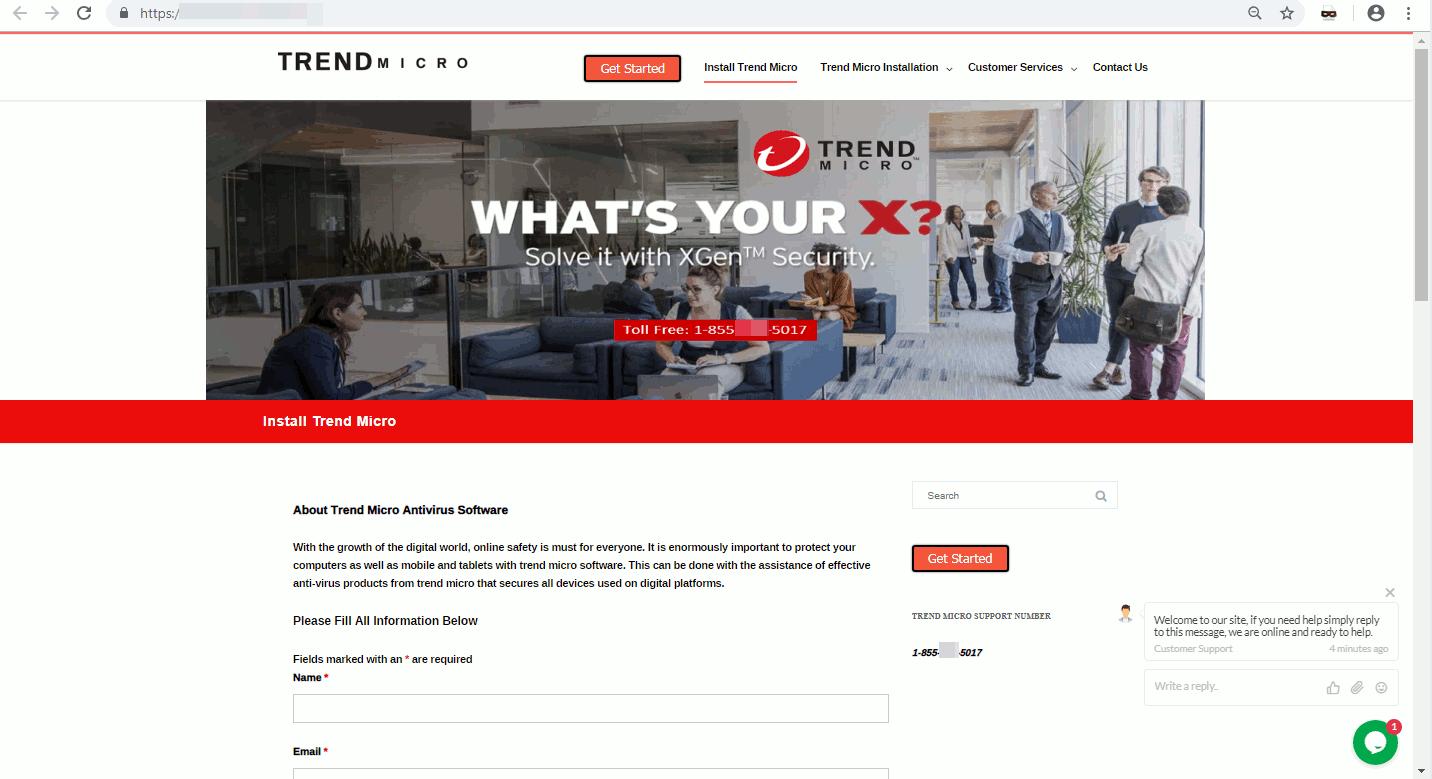 トレンドマイクロの技術サポートページに偽装した詐欺ページ