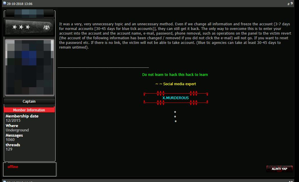 ハッカーのためのオンライン掲示板「turkhackteam」の投稿