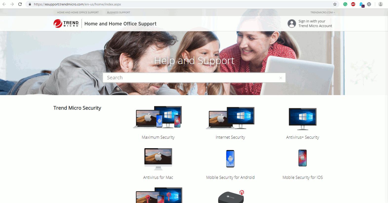 トレンドマイクロの公式サポートページ