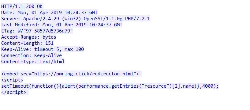 Microsoft EdgeでJames Lee氏のPoCサイトにアクセスしたトラフィック
