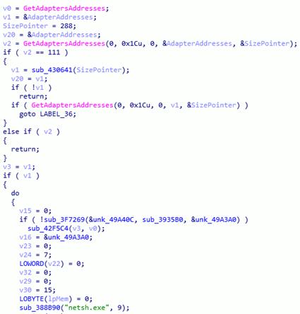 LockerGogaが感染システムのネットワークアダプタを無効化するコード